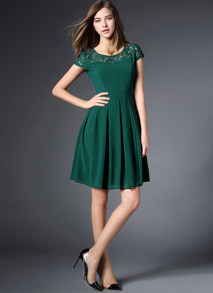 Dark Green Lace Chiffon Mini Fit and Flare Dress with Cap Sleeves
