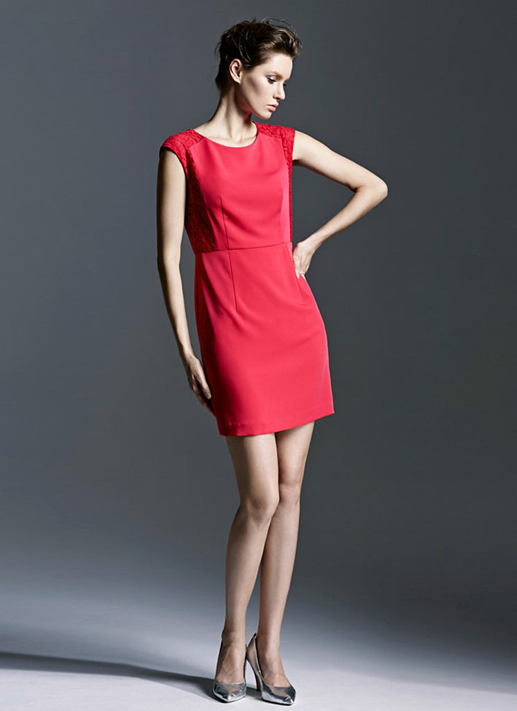 True Red Sheath Dress with Lace Details