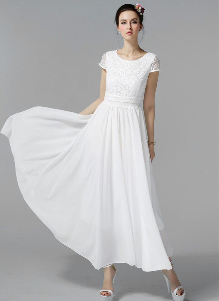 White Lace Chiffon Maxi Dress with Cap Sleeves and Layered Waist