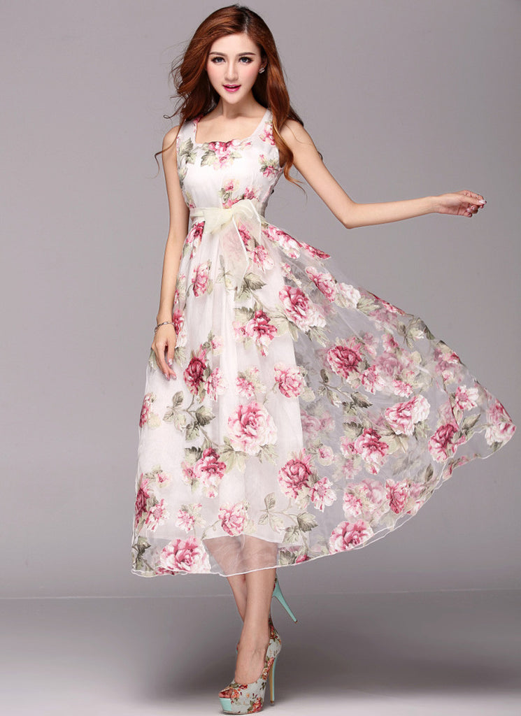 Floral Printed Organza Maxi Dress