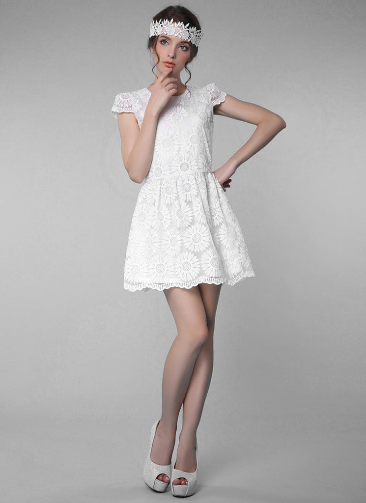 White Sunflower Lace Aline Mini Dress with Cap Sleeves