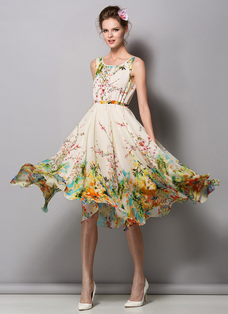 Light Yellow Floral Tea Dress (Midi Dress) with V Neck and V Back