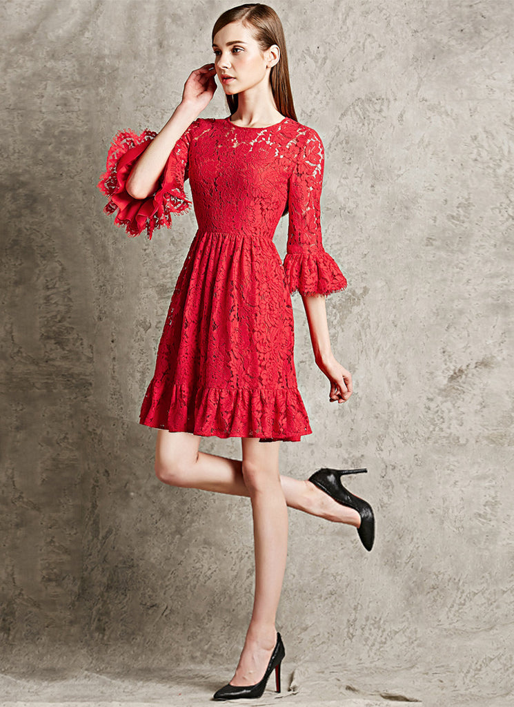 Red Lace Fit and Flare Mini Dress with Lantern Sleeves