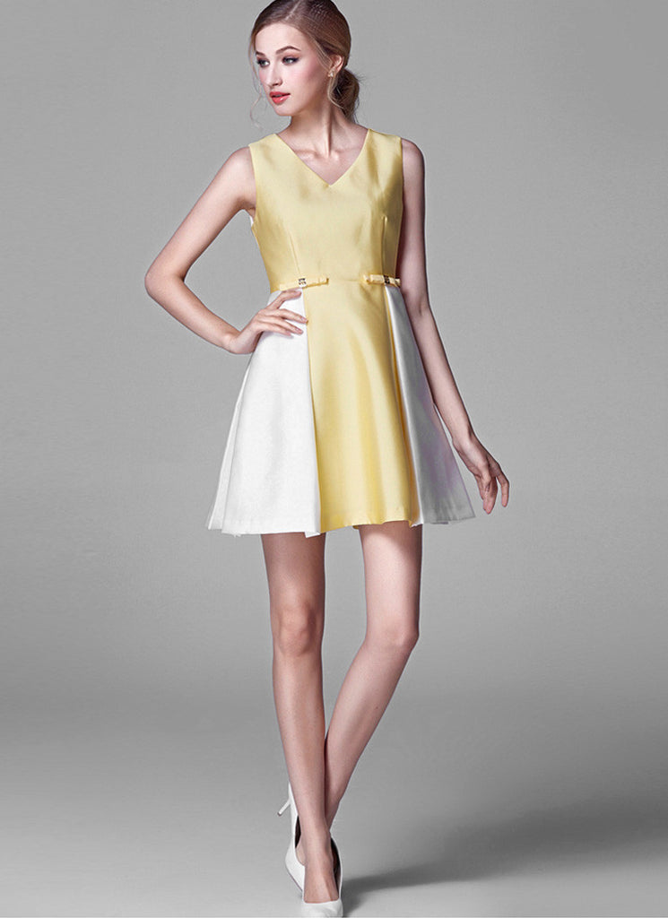 Contrast Colored Yellow and White Satin Mini Dress