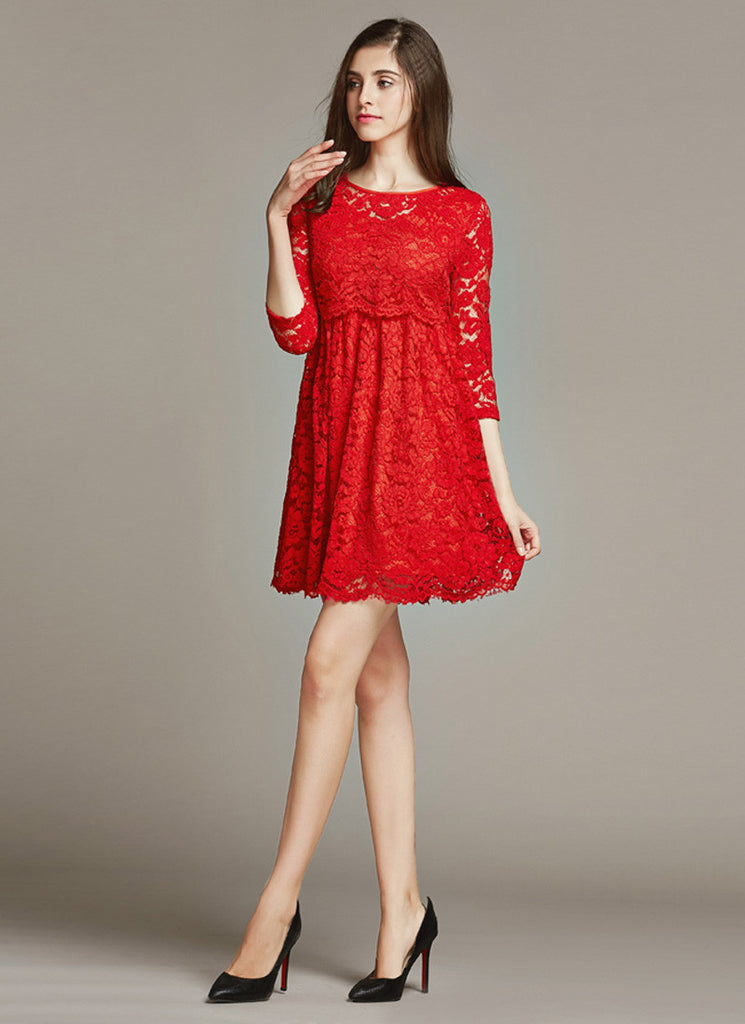 Empire Waisted Red Lace Fit and Flare Mini Dress with Scalloped Hem and Peplum