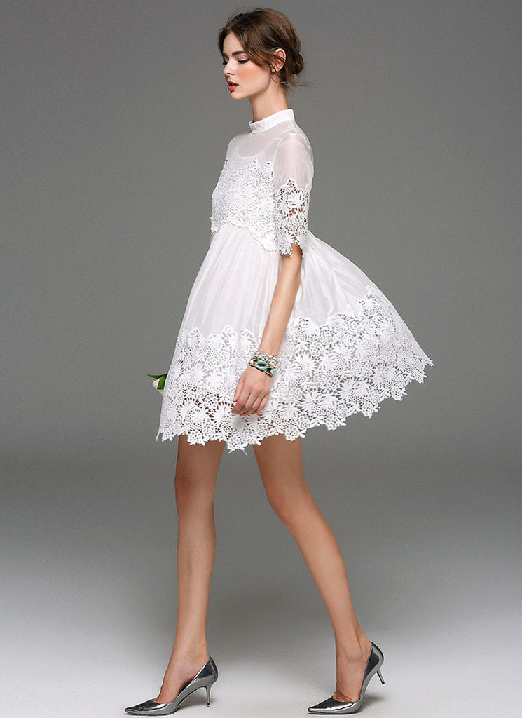 Empire Waisted White Lace Chiffon Mini Dress with Floral Asymmetric Hem