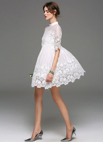 Empire Waisted White Lace Chiffon Mini Dress with Floral Asymmetric Hem RD588