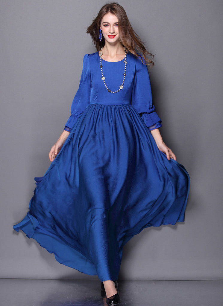 Open Back Long Sleeved Sapphire Blue Maxi Dress with Sash