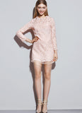 Nude Pink Lace Mini Dress with Organza Layered Edges