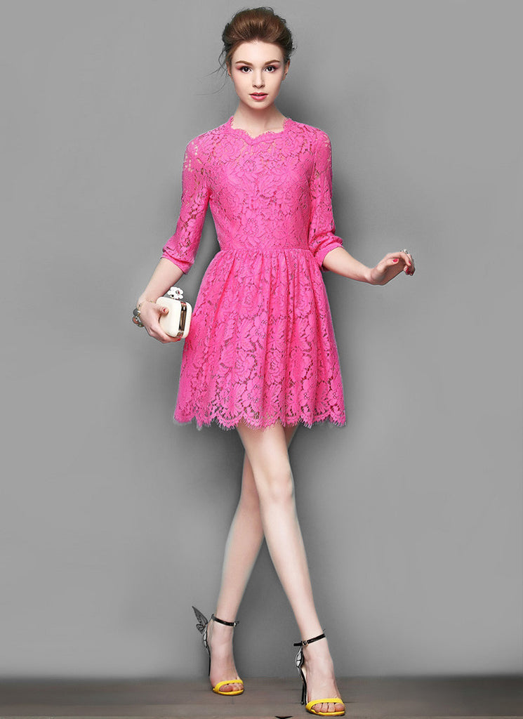 Elbow Sleeved Deep Pink Lace Mini Fit and Flare Dress with Scalloped Hem and Eyelash Details