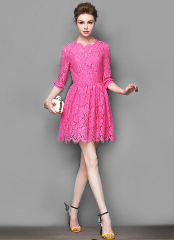 Elbow Sleeved Deep Pink Lace Mini Fit and Flare Dress with Scalloped Hem and Eyelash Details RD533