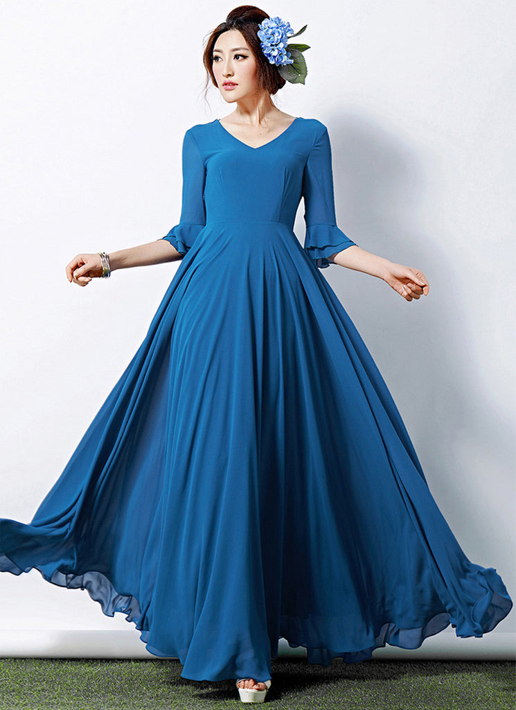 V Neck Dodger Blue Maxi Dress with Layered Three Quarter Lantern Sleeves