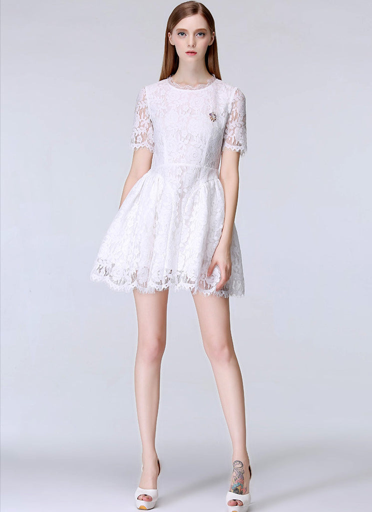 White Lace Mini Dress with Scalloped Hem and Eyelash Details