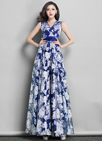 Dark Blue Floral Organza Maxi Dress with Pleated Waist and Faux Surplice Bodice RM611