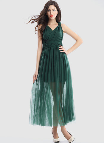 Dark Green V Neck V Back Maxi Dress with Ruched Waist Yoke RM598