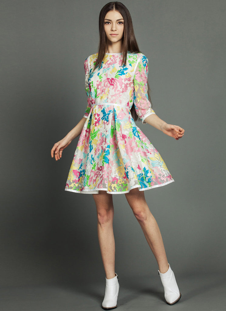 Embroider Organza Lace Mini Dress with Colorful Print