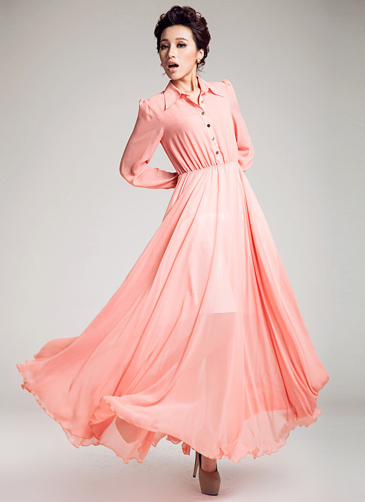 Long Sleeved Coral Pink Chiffon Maxi Dress with Shirt Top