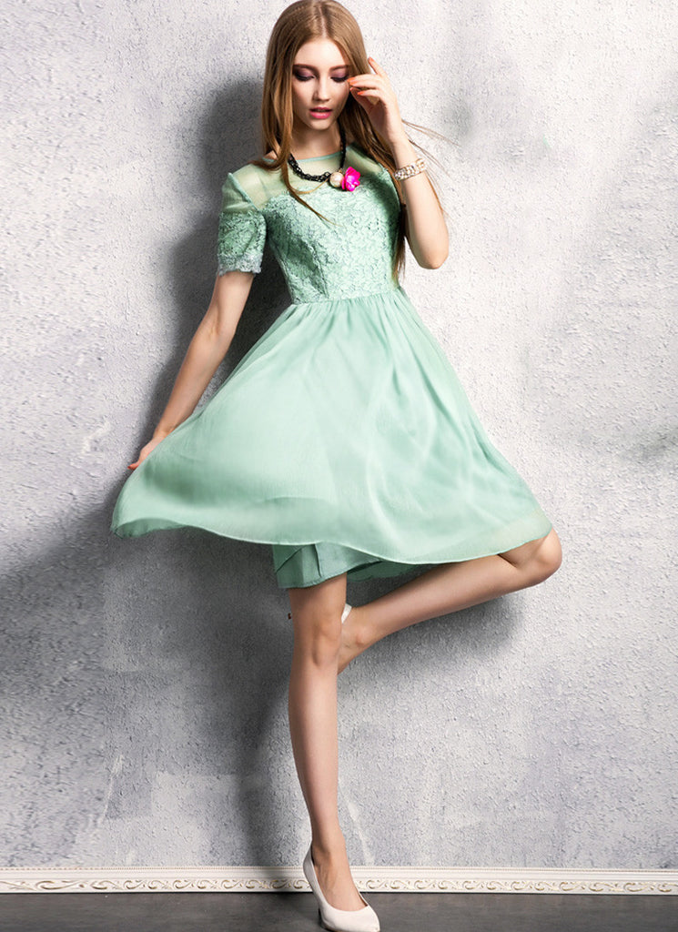 Light Mint Green Lace Chiffon Fit and Flare Mini Dress with Eyelash