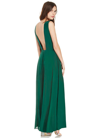 Open Back Dark Green Chiffon Maxi Dress with V Neck RM561