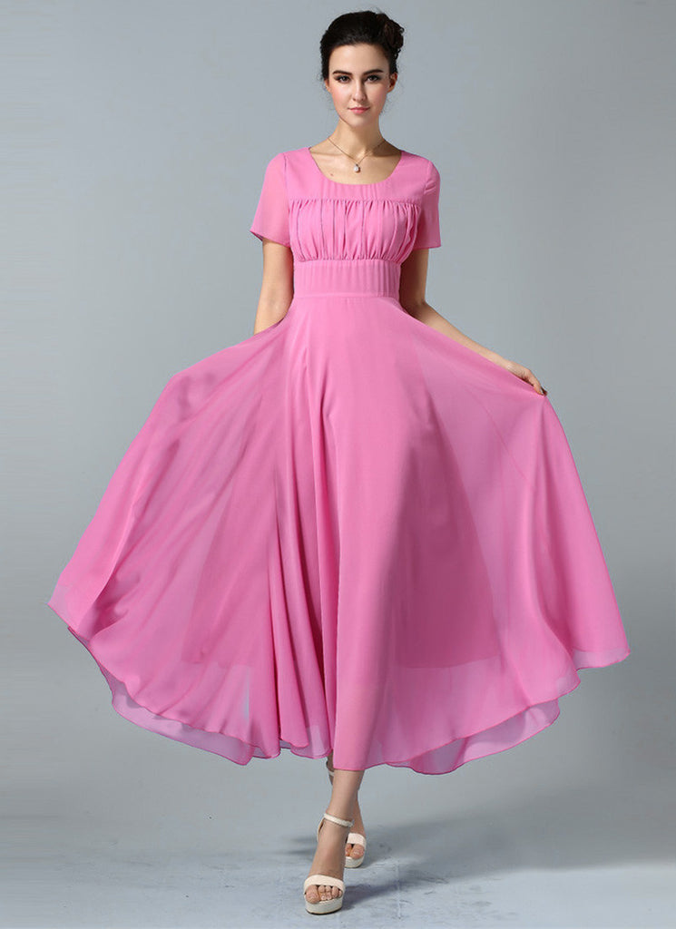 Hot Pink Maxi Dress with Ruffled Top and Wide Waist Yoke