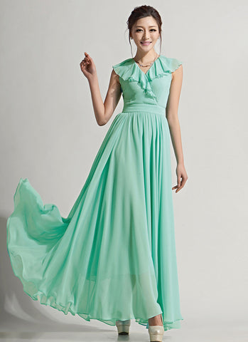 Mint Green Chiffon Maxi Dress with Draped V Neck RM643