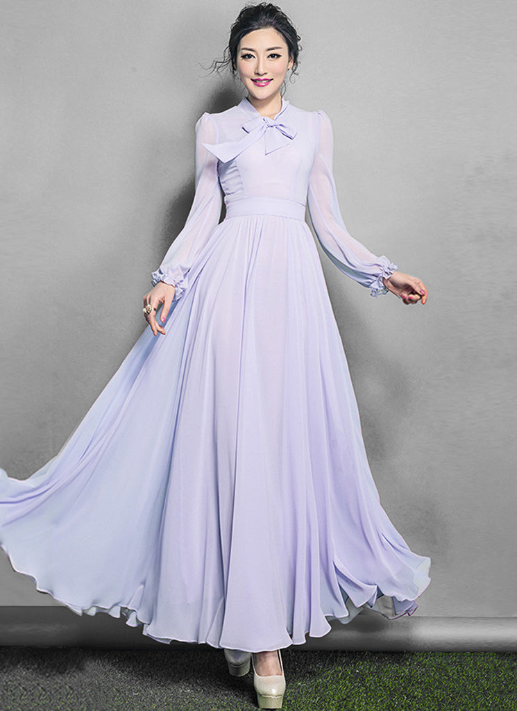 Long Sleeved Thistle Chiffon Maxi Dress