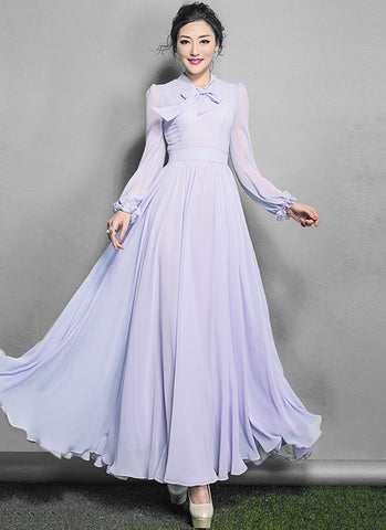 Long Sleeved Thistle Chiffon Maxi Dress RM619