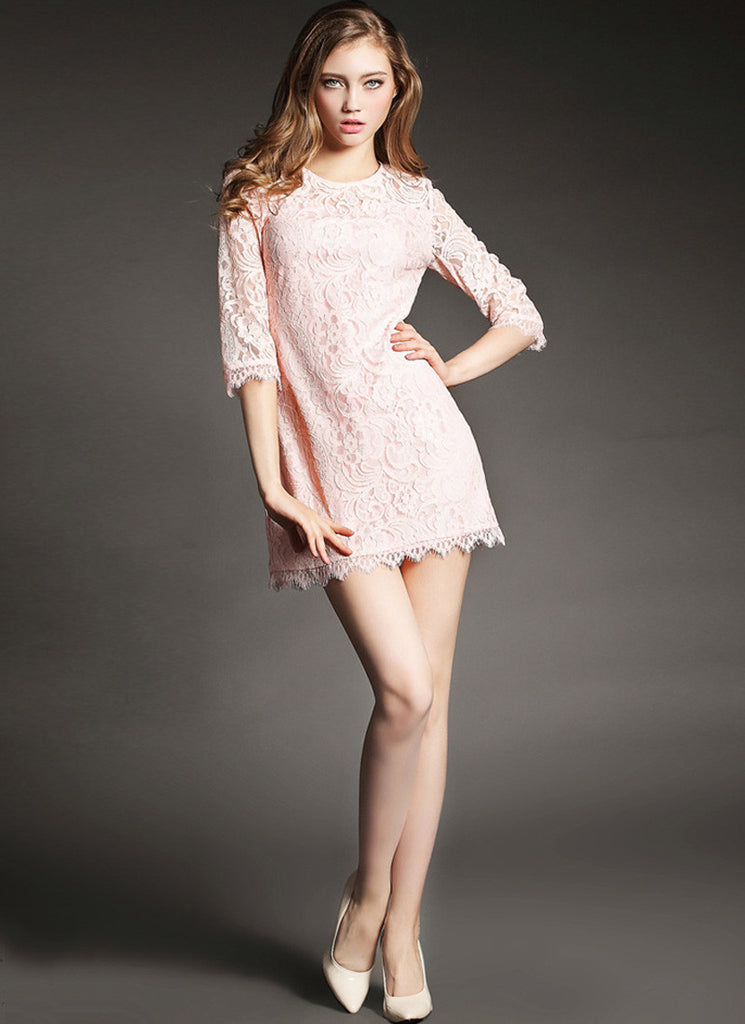 Nude Pink Lace Mini Dress with Eyelash Details