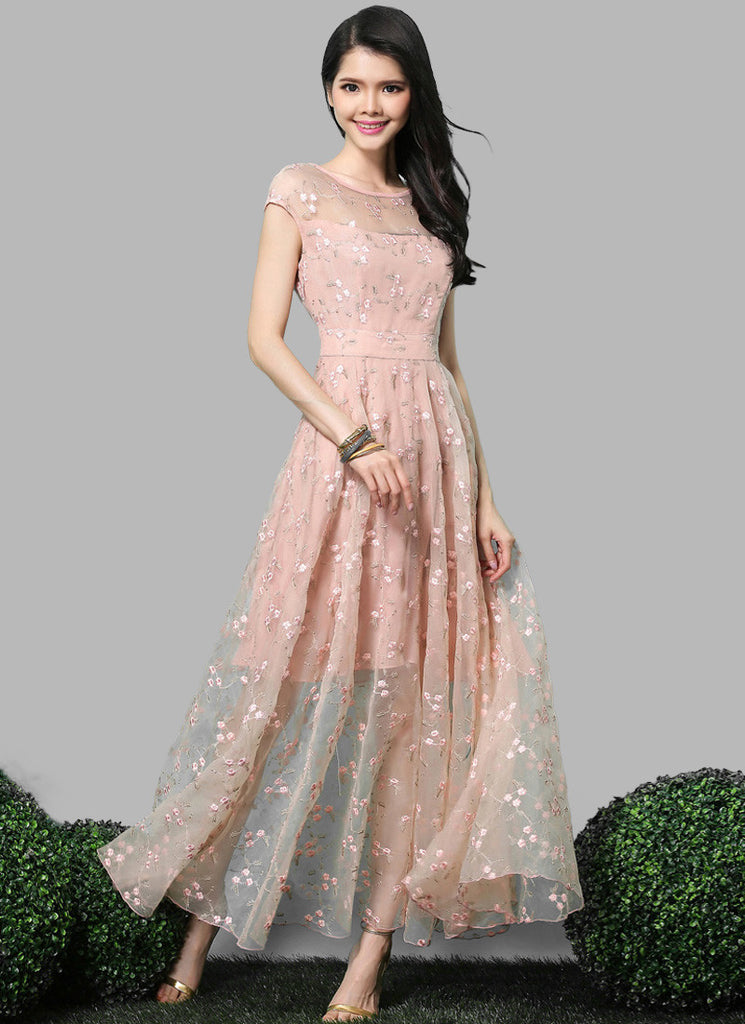 Nude Pink Organza Lace Maxi Dress with Cap Sleeves