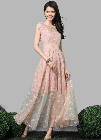 Nude Pink Organza Lace Maxi Dress with Cap Sleeves RM554