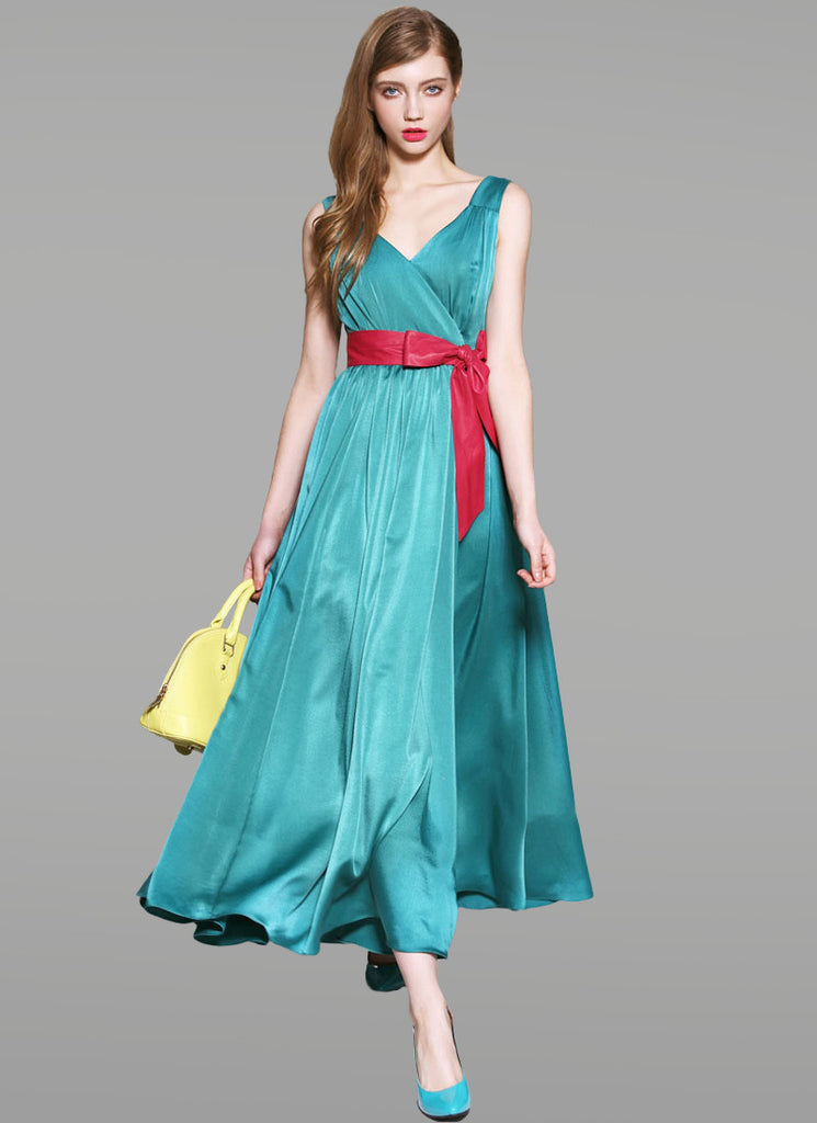 Dark Turquoise Satin Maxi Dress with Red Sash