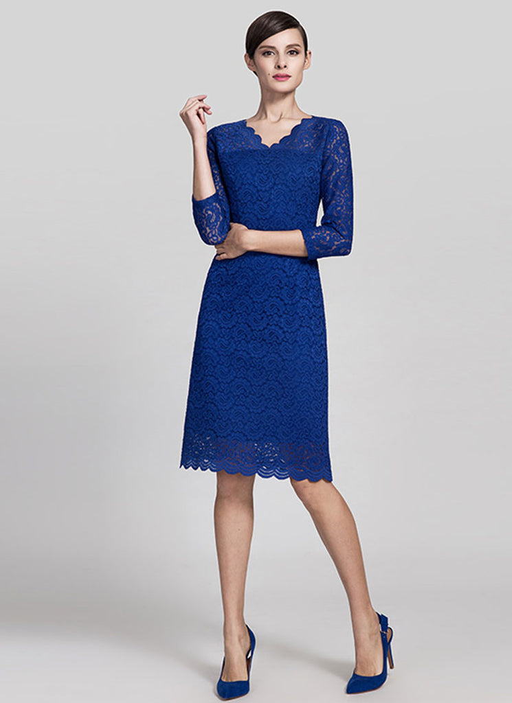 V Neck Blue Lace Mini Dress with Three Quarter Sleeves and Scalloped Hem