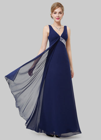 Empire Waisted Navy Evening Dress with Sequin Details RM496