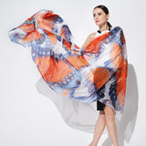 Digital Printed Silk Chiffon Scarf - Colorful Silk Scarf with Extra Large Butterfly Print - PS2-10 (Warm Color)