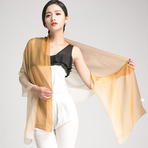 Gradient Color Mulberry Silk Scarf - Golden Rod Silk Chiffon Scarf - Beige Silk Scarf - GS1-10