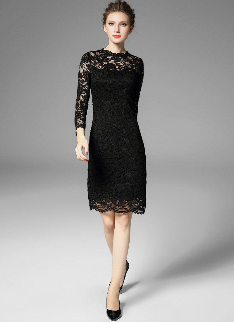 Long Sleeve Black Lace Sheath Mini Dress with Scalloped Hem and Bow ...