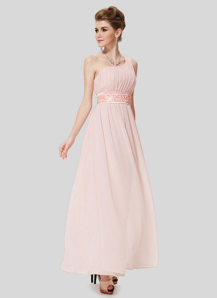 One Shoulder Dusty Rose Pink Maxi Dress with Sequin Waist Yoke