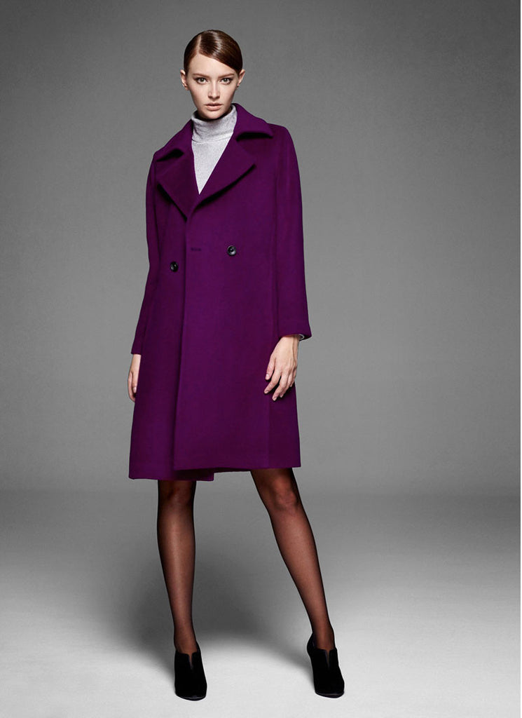 Belted Short Purple Cashmere Wool Coat
