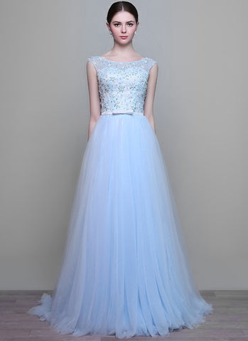 Light Blue Lace Tulle Maxi Dress Wedding Gown with Bead Embellishment MX1