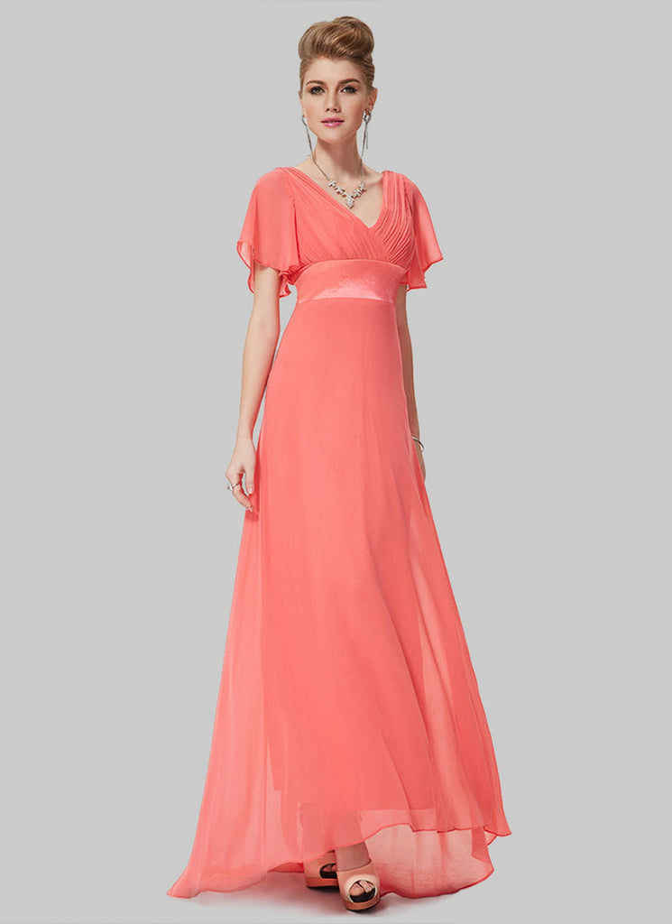 Empire Waisted Light Coral Maxi Dress with Flutter Sleeves