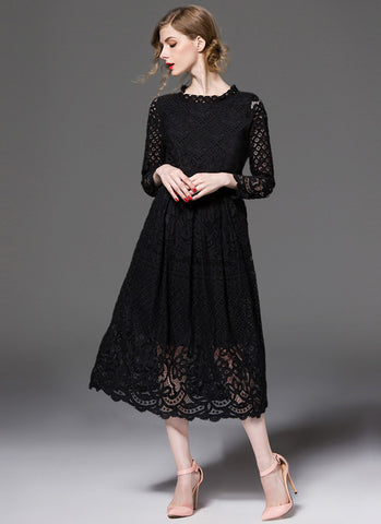 Long Sleeved Black Lace Midi Dress with Scalloped Hem and Eyelash Details MD15