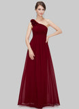 One Shoulder Maroon Maxi Dress with Floral Embellishment