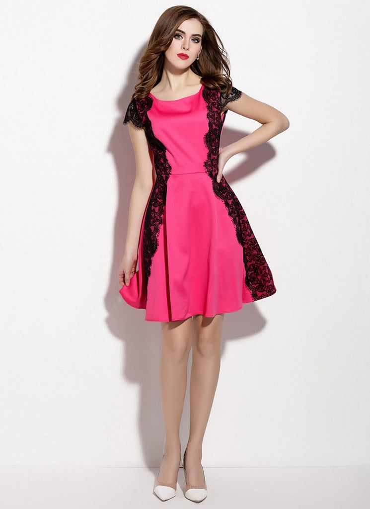 Fuchsia Aline Mini Dress with Black Lace Details