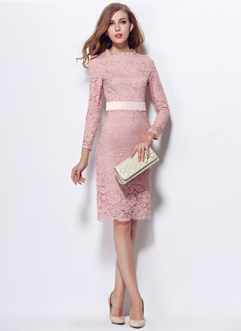 Long Sleeve Pale Pink Lace Sheath Mini Dress with Satin Waist Yoke MN58