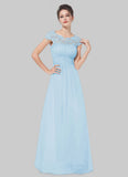Embellished Open Back Light Blue Lace Chiffon Evening Gown