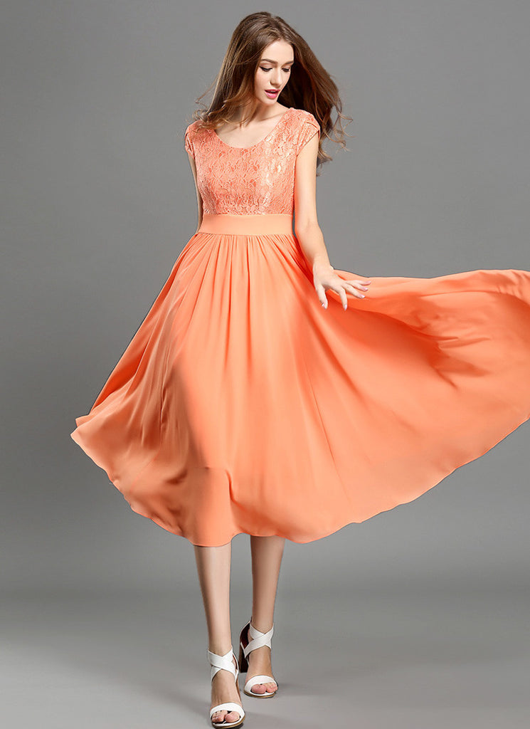 Orange Lace Chiffon Midi Dress with Modified V Neck and Layered Cap Sleeves