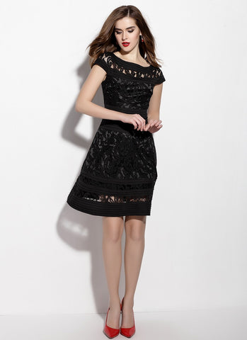 Black Lace Aline Mini Dress with Pleated Details MN16