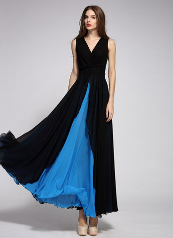V Neck Black Maxi Dress with Layered Blue Skirt MX16