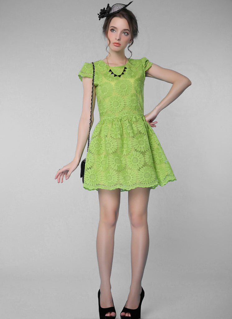 Light Green Sunflower Lace Aline Mini Dress with Cap Sleeves