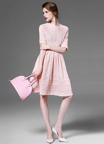 Light Pink Lace Aline Mini Dress with Short Sleeves and Fabric Black Design MN50